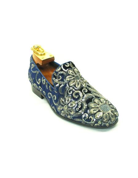 Mens Hand Embroidered Sapphire Sequin Patterns Glitter ~ Sparkly Shoes