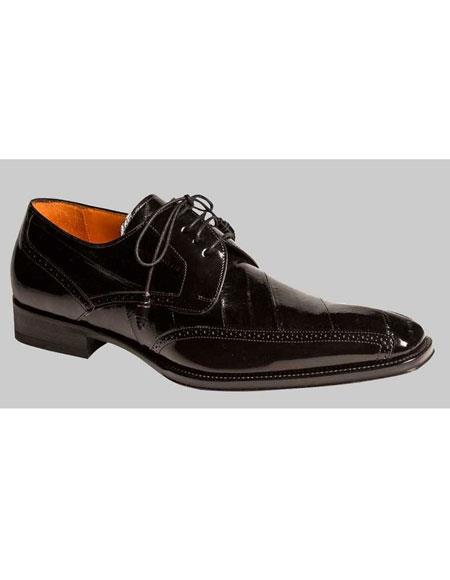 Mens Black Lace Up Style Eel Skin Oxford Exotic Leather Shoes Authentic Mezlan Brand