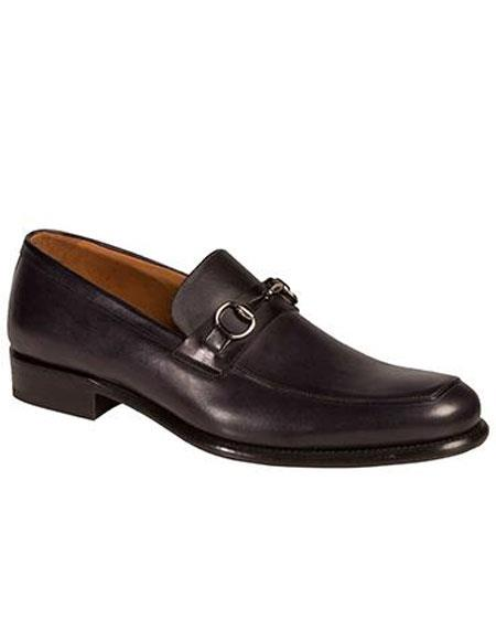 Mens Calfskin Slip-On Leather Sole Black Shoes Authentic Mezlan Brand