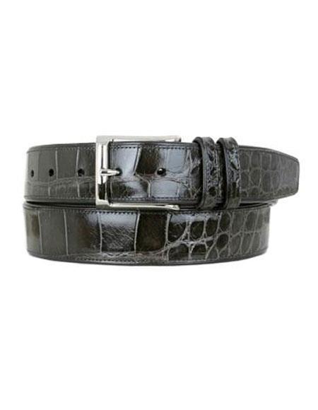 Mezlan Belts Men's Grey All-Over Genuine World Best Alligator ~ Gator Skin Handmade Skin Belt