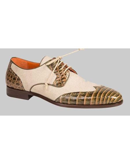 Men's Handmade Olive/Bone Crocodile Linen Spectator Wingtip Shoes Authentic Mezlan Brand