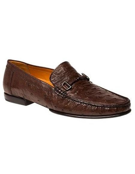 Men's Tabac Ostrich Italian Calfskin Style Slip-On Shoes Authentic Mezlan Brand