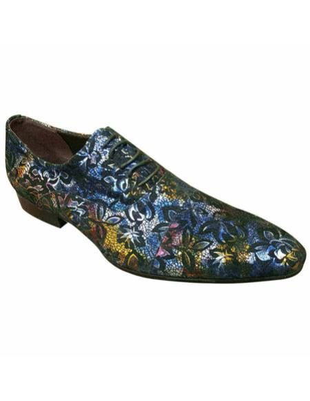 Mens High Fashion Purple & Multicolor Floral Designed Zota Mens Unique Dress Shoes Unique Zota Mens Dress Shoe