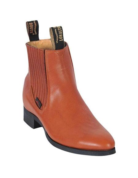 Los Altos Charro Botin Short Ankle Deer Honey Leather Boot ~ Botines Para Hombre For Men