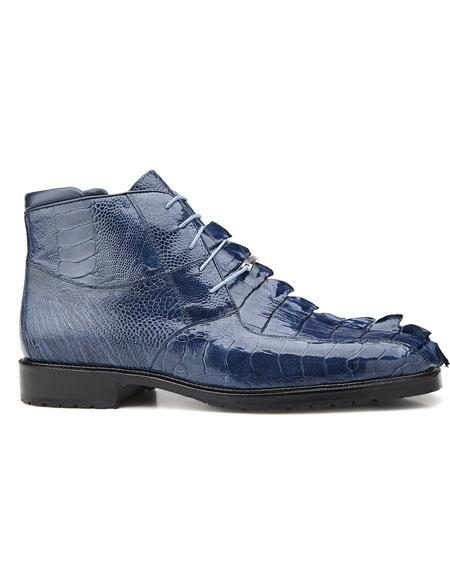 Mens Genuine Hornback And Genuine Ostrich Blue Jean Lace Up Style Belvedere Boot