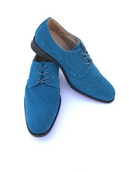 Men's Cap Toe Lace Up Style Indigo ~ Bright Blue~ Turquoise ~ Teal Dress Shoes Wingtip