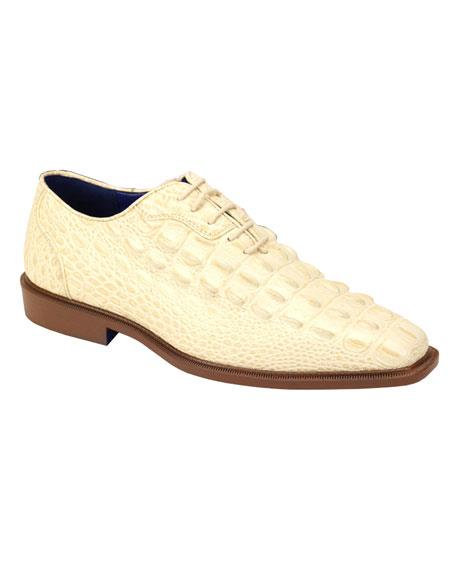 Men's Plain Toe Oxford Gator Pattern Ivory ~ Cream ~ Off White Lace up Dress Shoes