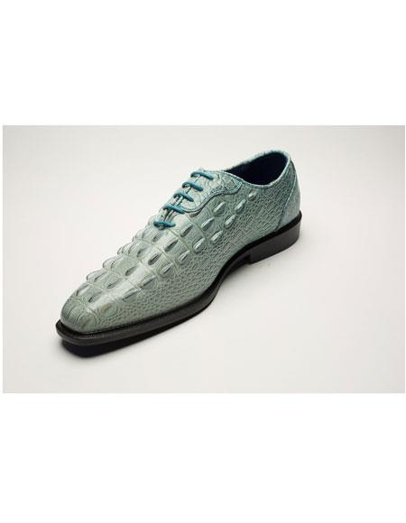 Men's Two Toned Lace Up Light Blue World Best Alligator ~ Gator Skin Print Dress Shoes