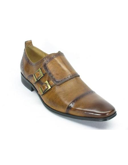 Men's Carrucci Slip On Leather Double Buckle Cognac Loafers