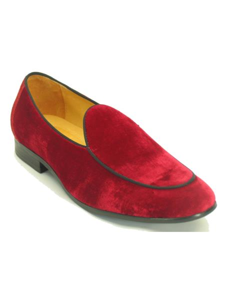 Mens Carrucci Red Genuine Velvet Fashionable Loafer Shoe