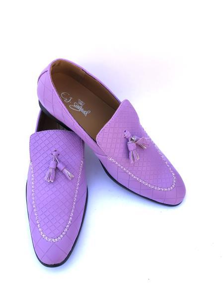 Men's Slip-On Style Gator Fashionable Light Purple ~ Lavender ~ Lilac Loafers