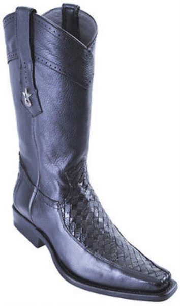 Basket Weave Lizard Black Los Altos Men's Cowboy Boots Western Classics Riding