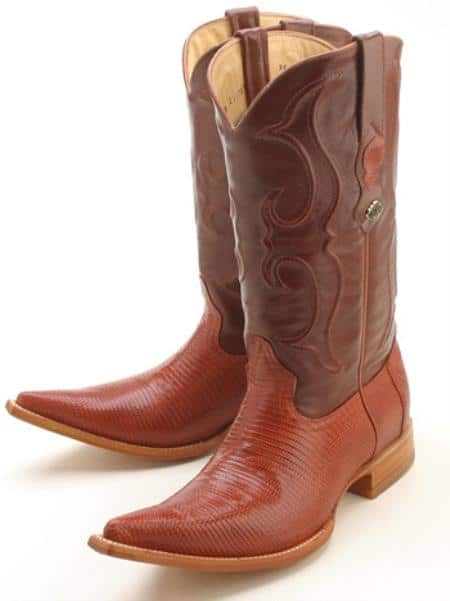 Ring Lizard Cognac Brown Los Altos Men's Cowboy Boots Western Riding Design