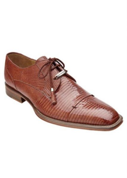 Belvedere Honey Brown Full Lizard Skin Exotic Shoes