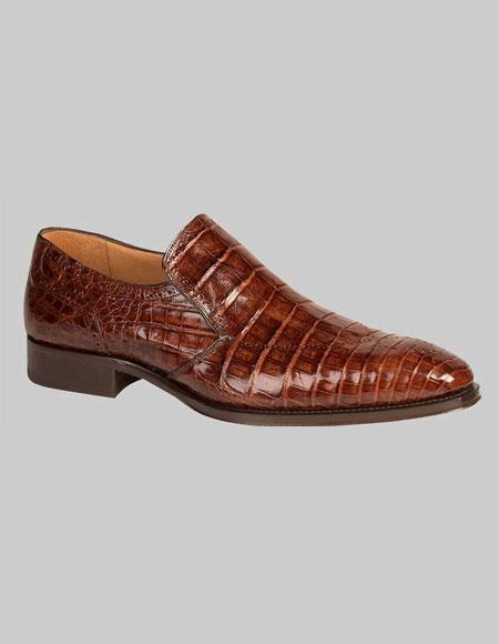 Men's Mezlan Loafers Brandy Crocodile Skin Shoes Authentic Mezlan Brand
