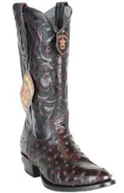 Mens Los Altos Handcrafted Round Toe Genuine Full Quill Ostrich Black Cherry Boots
