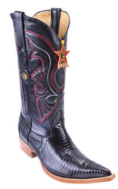 Teju Lizard Black Cherry Los Altos Men's Cowboy Boots Western Classics Riding