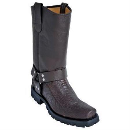 Men's Los Altos Ostrich Leg Biker Boots With Industrial Sole Brown