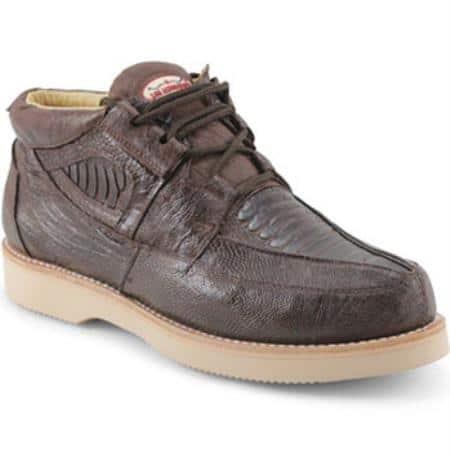 Brown Dress Shoe Mens Los Altos Genuine Ostrich Leg Four Eyelet Lacing Brown Authentic Genuine Skin Italian Tennis Dress Sneaker Shoes