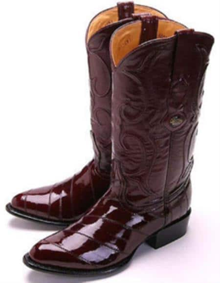 Eel Classy Burgundy ~ Maroon ~ Wine Color Brown Los Altos Men's Cowboy Boot ~ botines para hombre Western Ride
