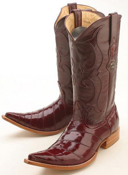 Eel Classy Burgundy ~ Maroon ~ Wine Color Brown Los Altos Men's Cowboy Boots Western Rider Style