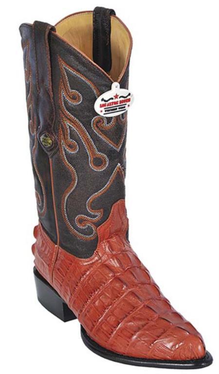 Croc Tail Print Cognac Vintage Los Altos Men's Cowboy Boot ~ botines para hombre Western Riding