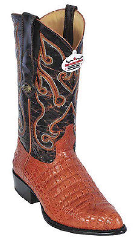 Croc Belly Print Cognac Vintage Los Altos Men's Cowboy Boot ~ botines para hombre Western Riding