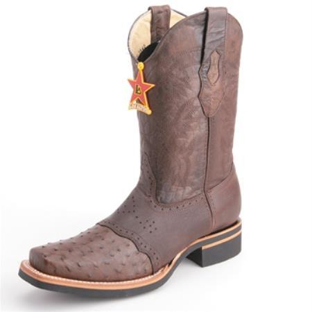 Los Altos Brown Wide Toe Boots Genuine Ostrich Skin