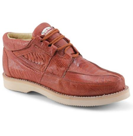 Mens Los Altos Genuine Ostrich Leg Exotic Cognac Shoes
