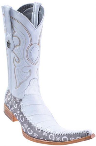 b783333116 Eel Classy Vintage Riding White Los Altos Mens Western Boots Cowboy Classics