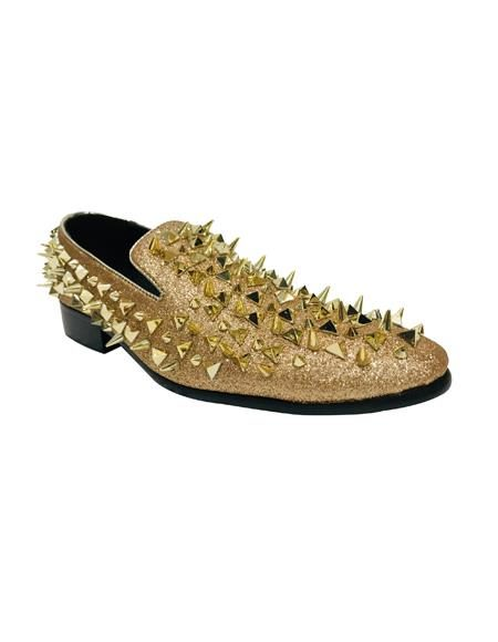 Mens Shoes Leather Men Loafers Fashion Gold Shoes
