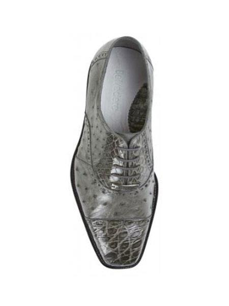 Grey Authentic Genuine Skin Italian Cap Toe Lace UP Oxford