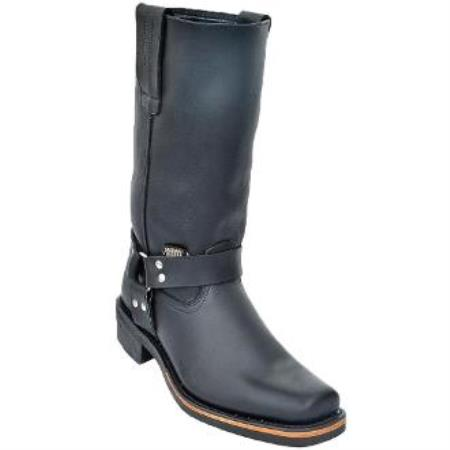 Men's Biker Boots With Rubber Sole Black