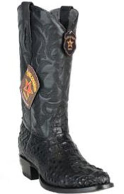 Mens Los Altos Handcrafted Round Toe Genuine Caiman Hornback Black Boots