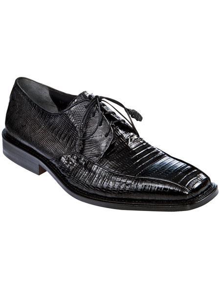 Men's Black Genuine Teju Lizard Los Altos Oxfords Style Dress Shoes