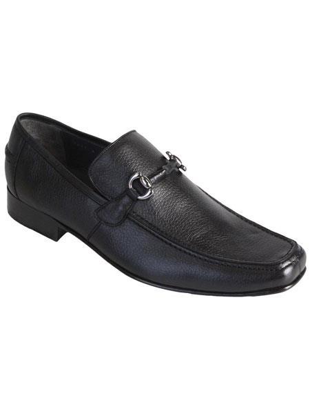 Men's Slip On Loafer Black Genuine Full Deer Skin Los Altos Dress Shoes