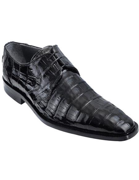 Men's Genuine Caiman Belly Oxfords Style Black Los Altos Dress Shoes