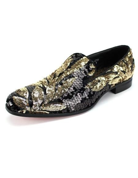 Mens Black ~ Gold Shiny Pattern Slip On Shoe