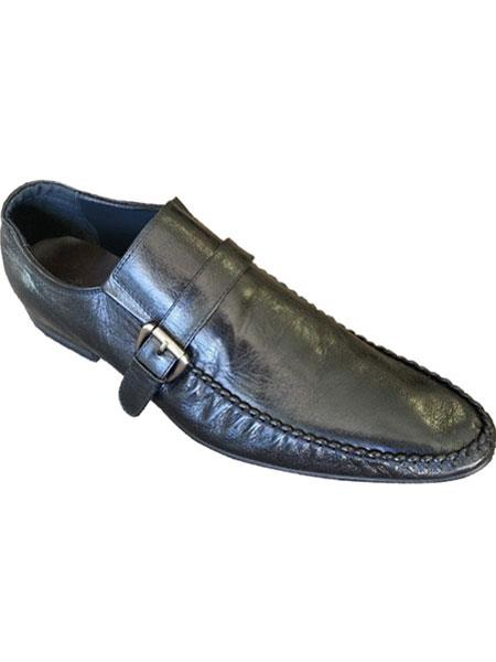 Zota Mens Unique Dress Unique Zota Mens Dress Shoe Brand Men's Side Buckle And Strap Black Italian Style Leather Loafers