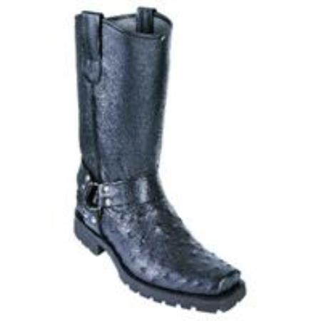 Full Quill Ostrich Biker Boots W Industrial Sole Black