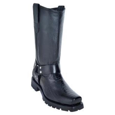 Men's Los Altos Ostrich Leg Biker Boots With Industrial Sole Black