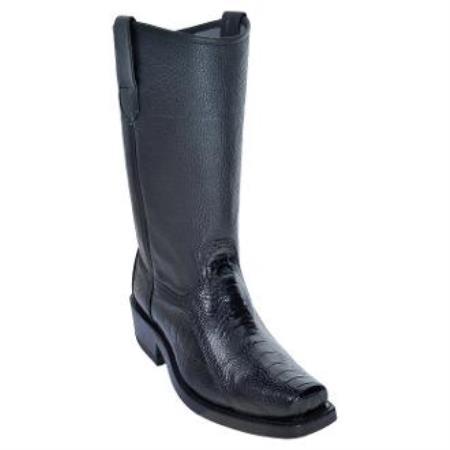 Men's Los Altos Ostrich Leg Biker Boots With Leather Sole Black