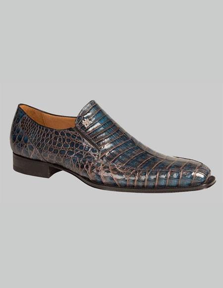 Men's Mezlan Custom Loafers Blue Two Tone Crocodile Exotic Conner Shoes Authentic Mezlan Brand