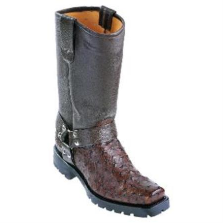 Full Quill Ostrich Biker Boots W Industrial Sole Brown