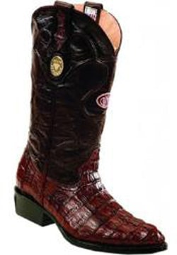 Mens Handcrafted J Toe Genuine caiman tale Burgundy ~ Wine ~ Maroon Color Boots