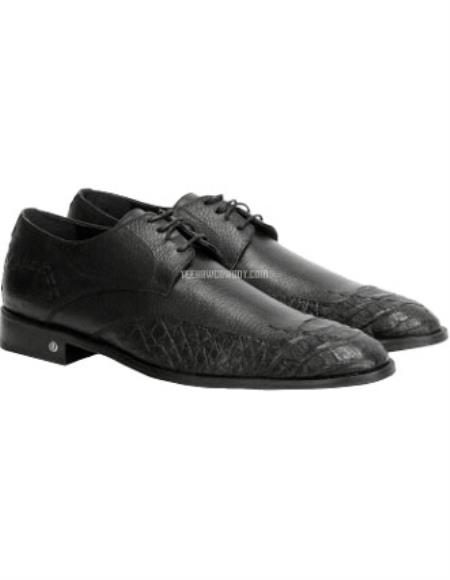 Mens Black Full Leather Vestigium Genuine Caiman Belly Derby Shoes