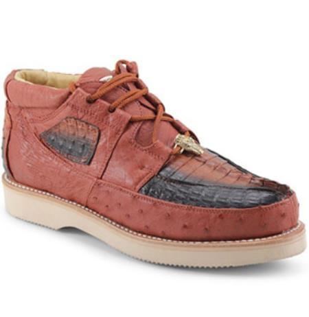 Mens Los Altos Genuine Caiman & Ostrich Padded Collar Cognac Shoes