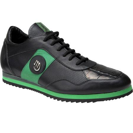 Nappa & Baby Crocodile Sneakers Black/Green