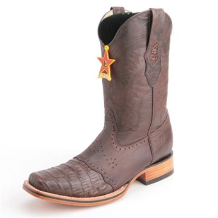 Los Altos Brown Wide Toe Boots Genuine Crocodile Skin