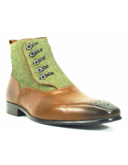 Men's Fashionable Button-Up Denim Zip Leather Boots